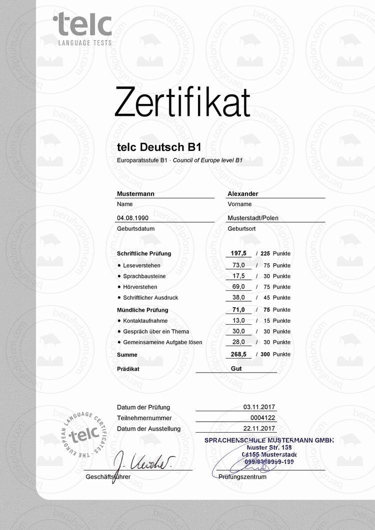 Sprachzertifikat Deutsch B1 kaufen, Goethe-Zertifikat B1 kaufen ...