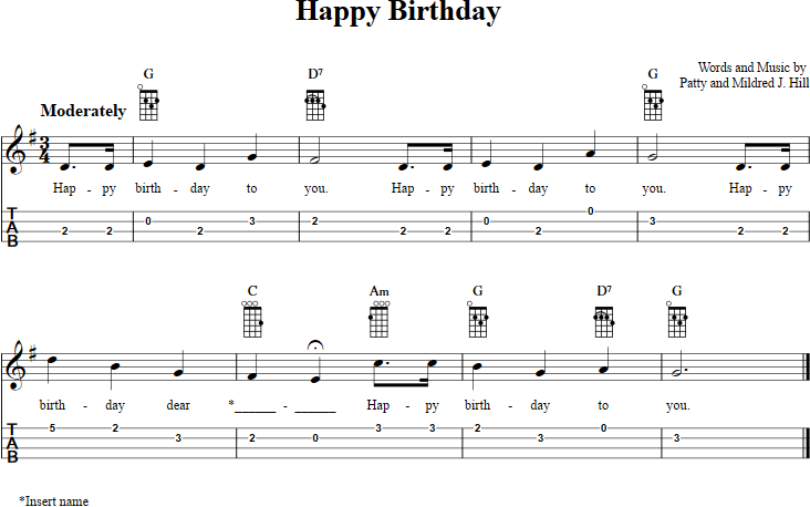 Happy Birthday Chords Sheet Music And Tab For Ukulele With Lyrics Happy Birthday Ukulele Chords Ukulele Chords Songs Ukulele Songs Beginner
