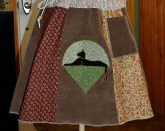 Corduroy and calico pocketed skirt with by GoodKarmaKreations