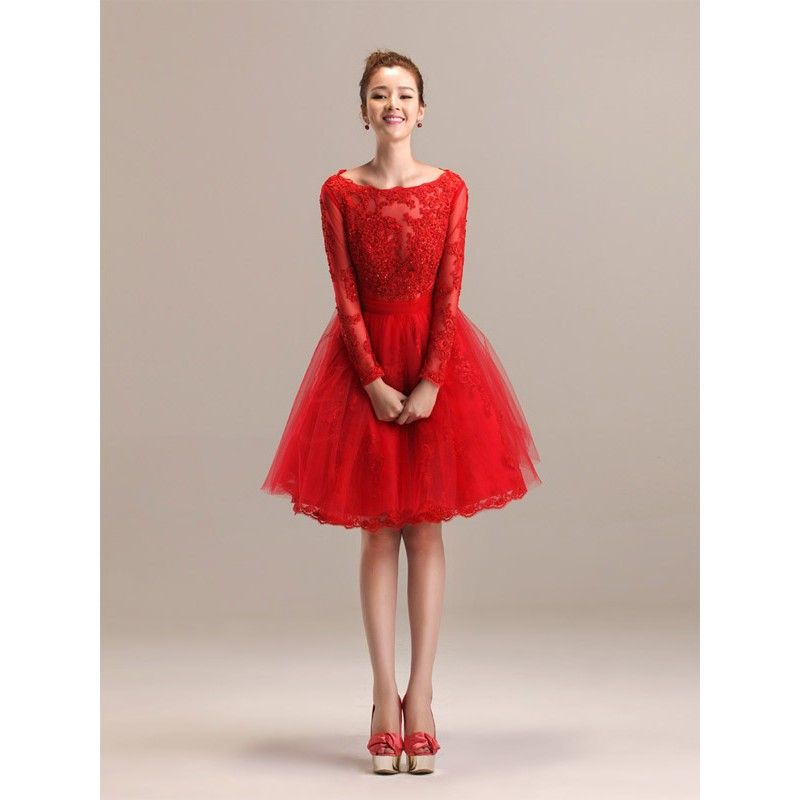 modest-red-color-short-lace-wedding-dresses-with-long-sleeves ...