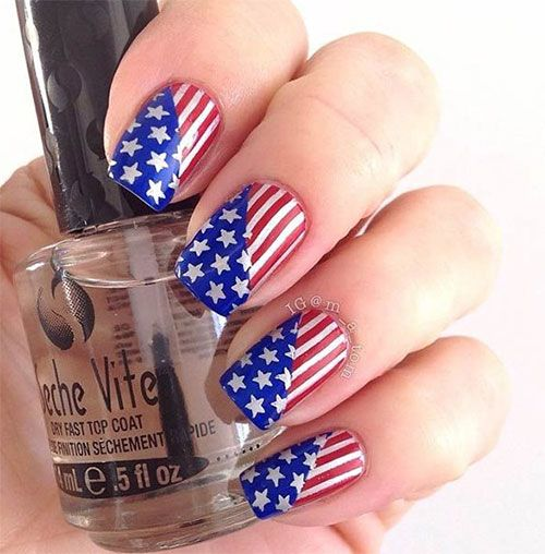 I have a collection of of July American flag nail art designs & ideas of  these Fourth of July nails are so pretty and will suit your nails. - Patrioticnails.quenalbertini: July 4th Nail Design By M_a_Tom