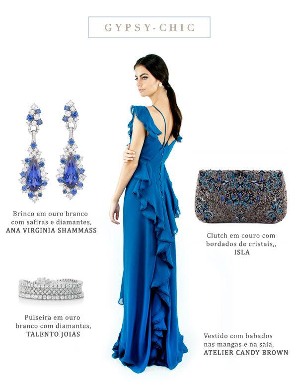 e0b95ac31 Look madrinha de casamento estilo gypsy-chic - vestido azul com babados {  Vestido: