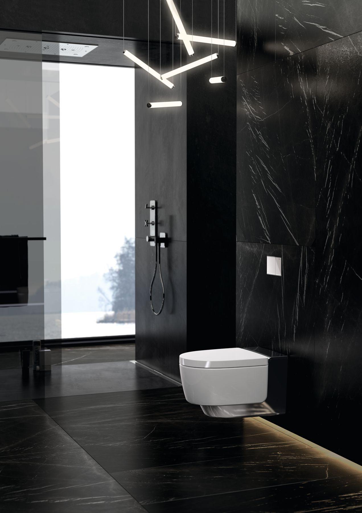 Badkamer Met Toilet Met Douchewc Geberit Aquaclean Mera Douchewc Toilet Badkamer Geberit Badkamer Zwart Badkamer Modern Moderne Badkamer Verlichting
