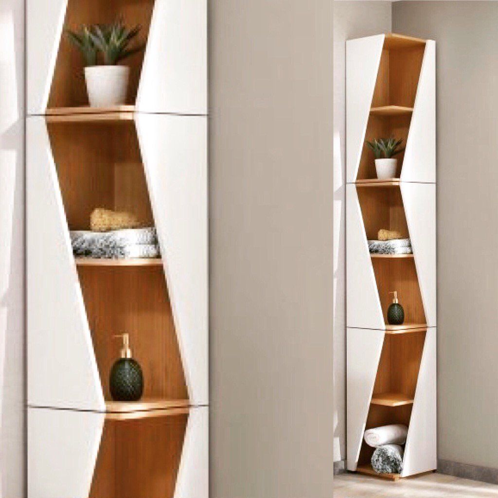 mal ehrlich wie sehen denn die meisten badezimmereckregale aus das design eckregal becky f rs. Black Bedroom Furniture Sets. Home Design Ideas