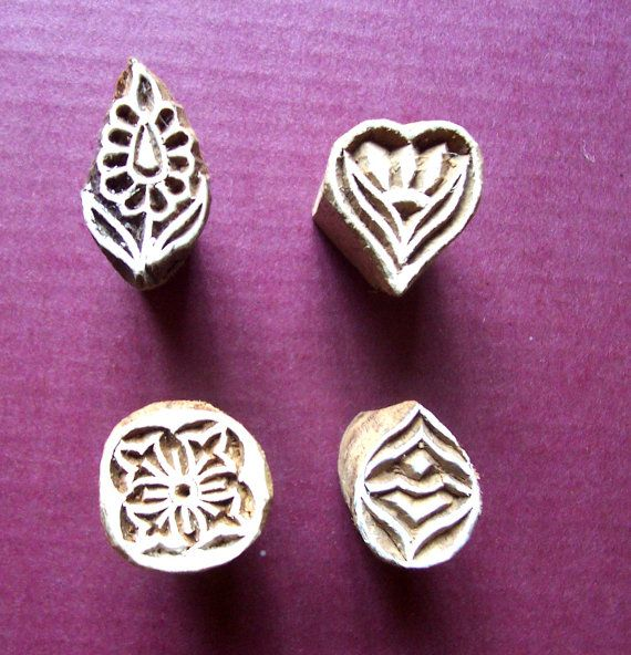 Set of Four Small Botanical Leaf Flower Wood by PrintBlockStamps, $10.00