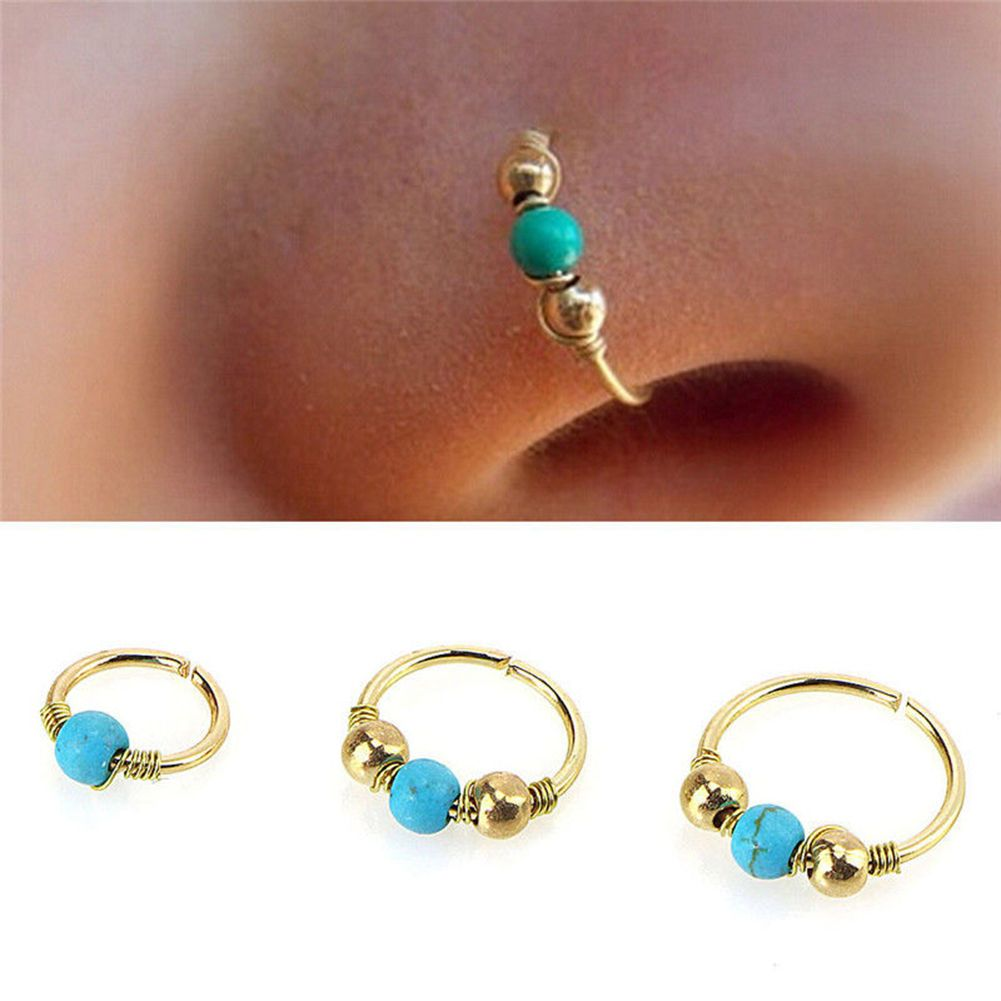 Without piercing nose ring   GBP  Nose Ring Turquoise Nostril Hoop Earring Nose Body