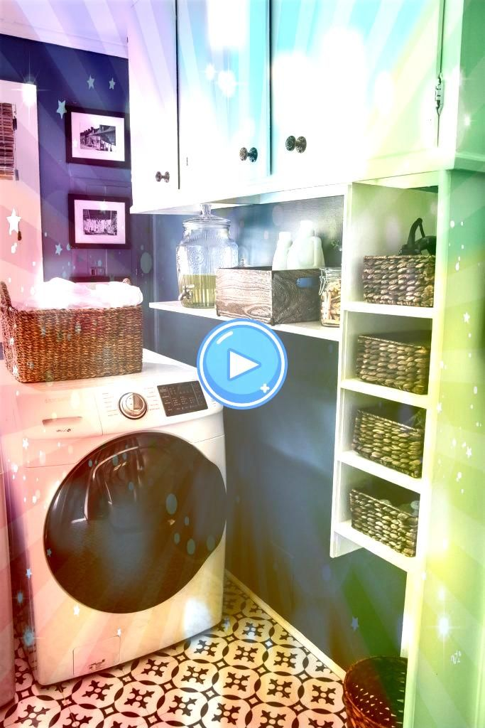 Contrast Laundry Room Makeover   A dingy and dated laundry room gets a high contrast navy and white makeover packed with organizational strategies and budgetconscious DIY...