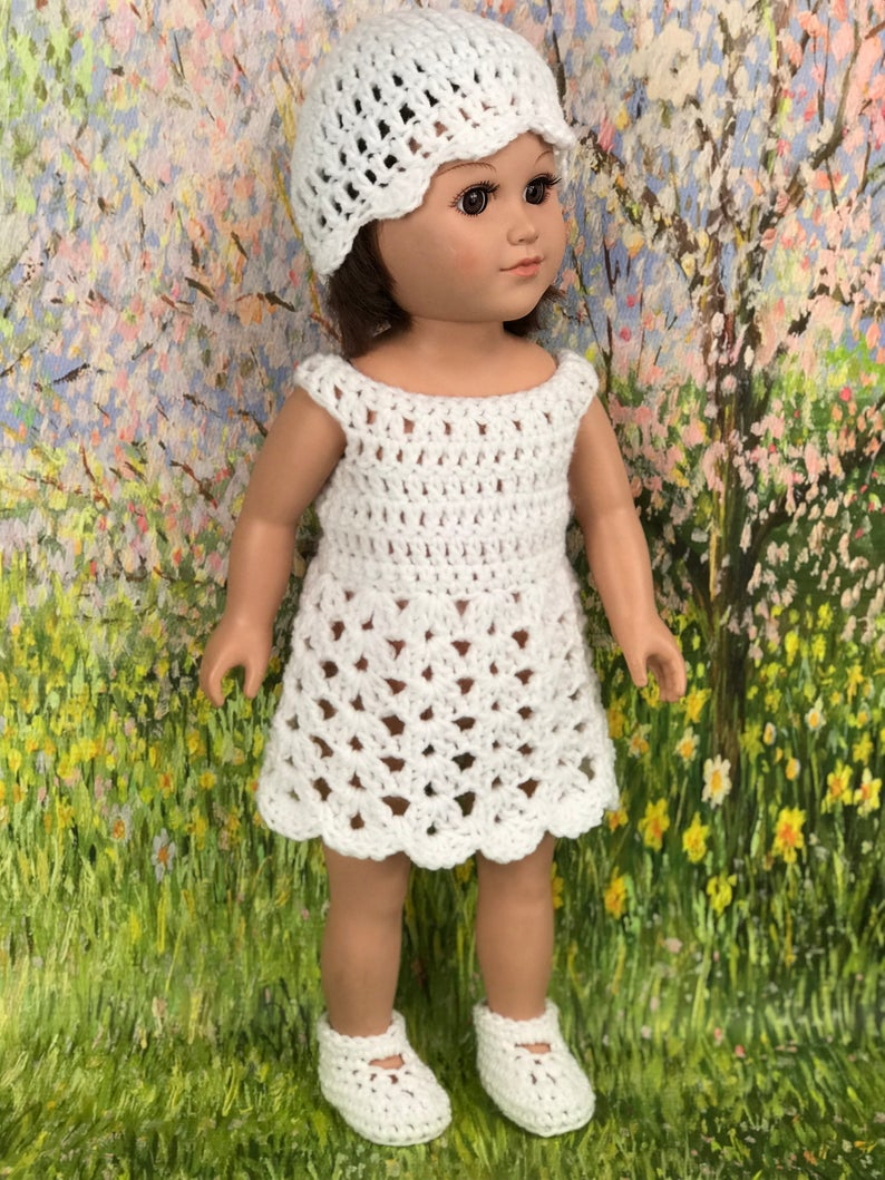 Crochet PDF pattern to make 18 Doll Dress, hat and shoes, doll dress pattern, crochet doll clothes pattern #dollhats