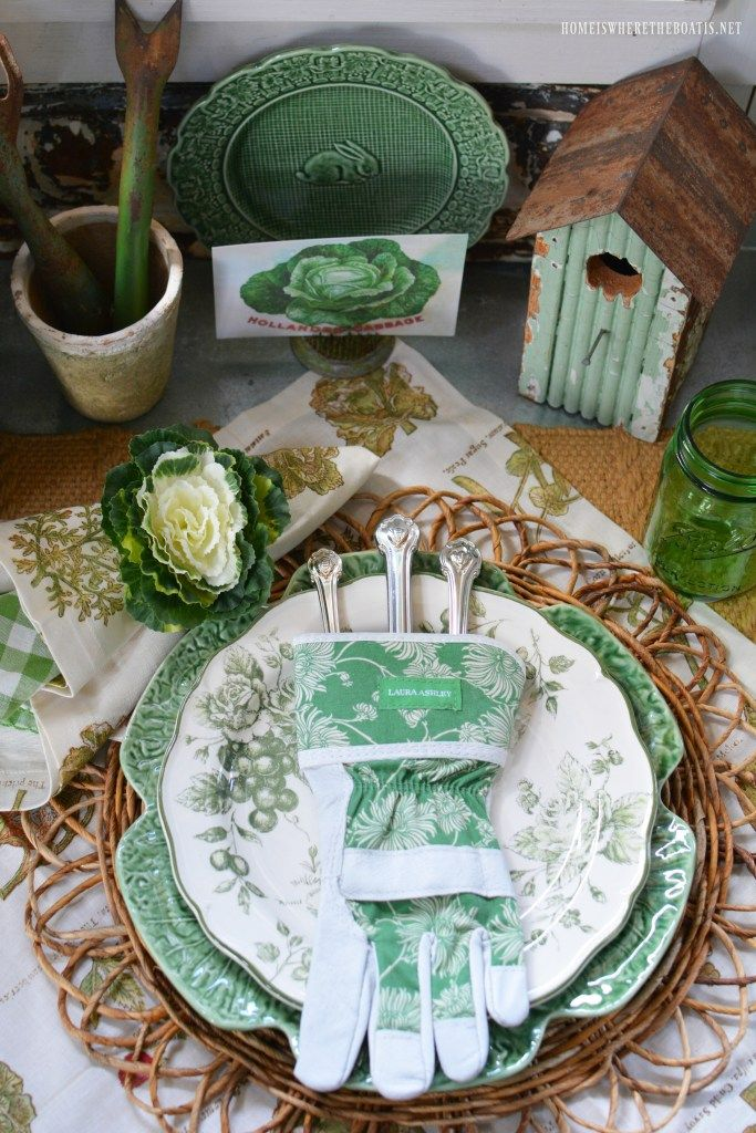 Garden table with bunnies in the Potting Shed | homeiswheretheboatis.net #tablesetting #garden #bunny #sheshed