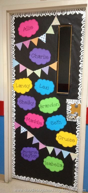 classroom door decorations back to school. Beautiful School Especially For A Classroom Theme Of Bright Colors Would Have To Make The  Name Clouds Smaller Fit Every Child Though Throughout Classroom Door Decorations Back To School