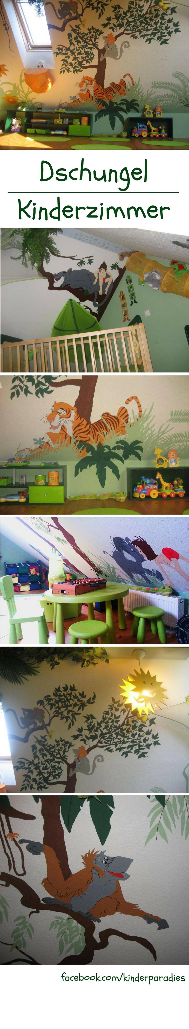 Wandgestaltung in einem Dschungel Kinderzimmer | Wandmalerei ...