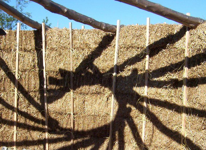 hen a clay sculptor builds a straw bale studio roundhouse with a reciprocal roof and takes pictures, there's a good chance they are going to be a lesson in observation. This is a shadow picture of the reciprocal roof by Alison Lochhead [http://www.alisonlochhead.co.uk/] in Ceredigion, Wales.