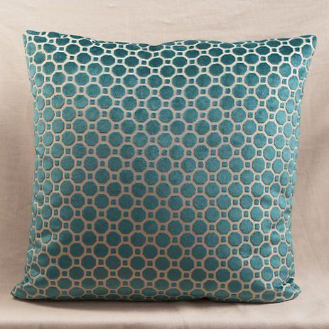 Blue Velvet Geo Pillow, Large | Gump's $148