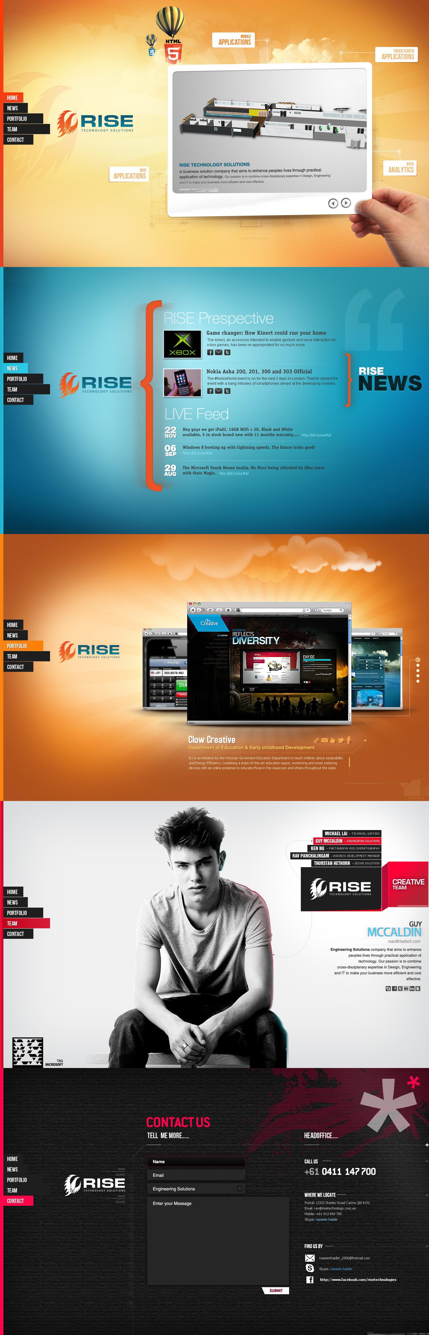 Rise Technologies Html 5 By Naseemhaider On Deviantart Web Design Web Development Design Web Design Inspiration