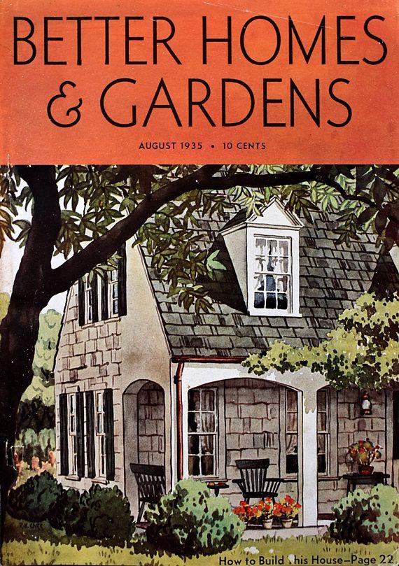 Aug 1935 Better Homes Gardens Magazine Cover Gray Shingled