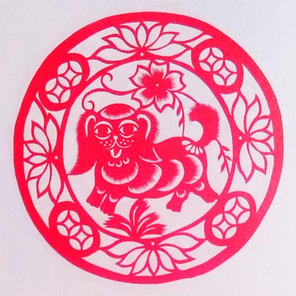 淘宝��e9�m���\�_十二生肖狗剪y窗花剪y畫中國手工]品家居裝飾畫中國風