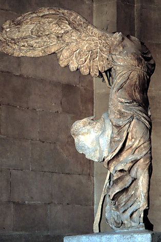 "Nike alighting on a warship (Nike of Samothrace), from Samothrace, Greece, ca. 190 BCE. Marble, figure approx. 8' 1"" high. Louvre, Paris."