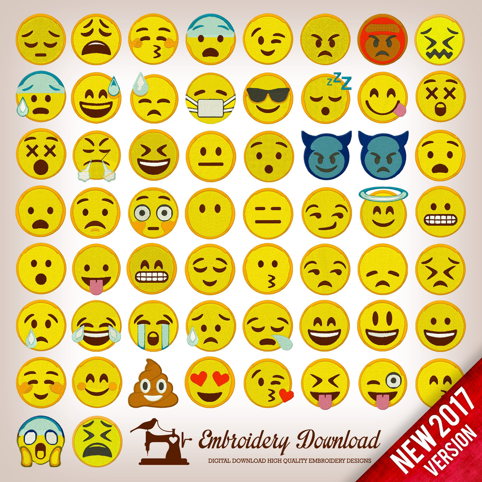 Emoticons Emoji Pack 58 Collection Embroidery design