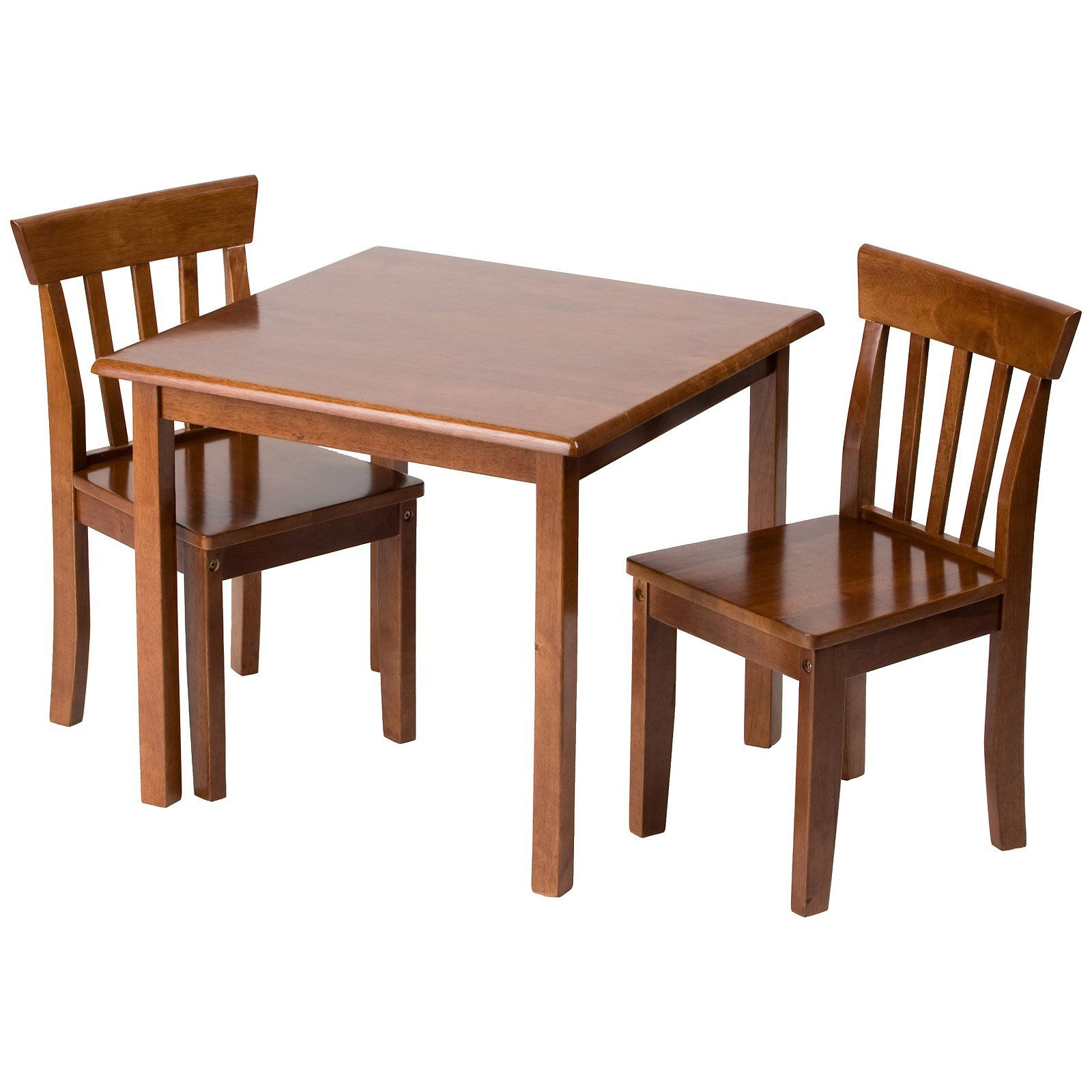 Childrens Wooden Table And Chairs Furniture Kids Room Square Top Brown Varnished Mahogany Wood Table