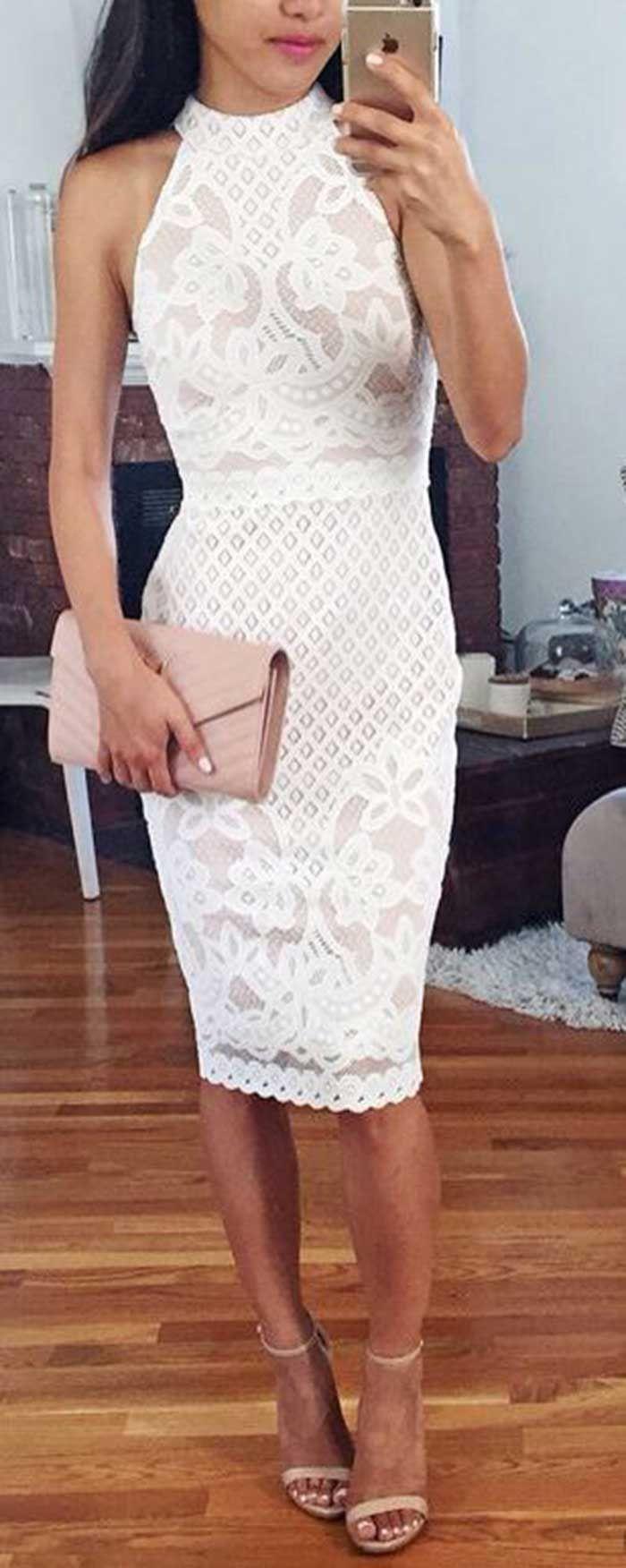 Modern round neck sleeveless kneelength sheath white lace prom