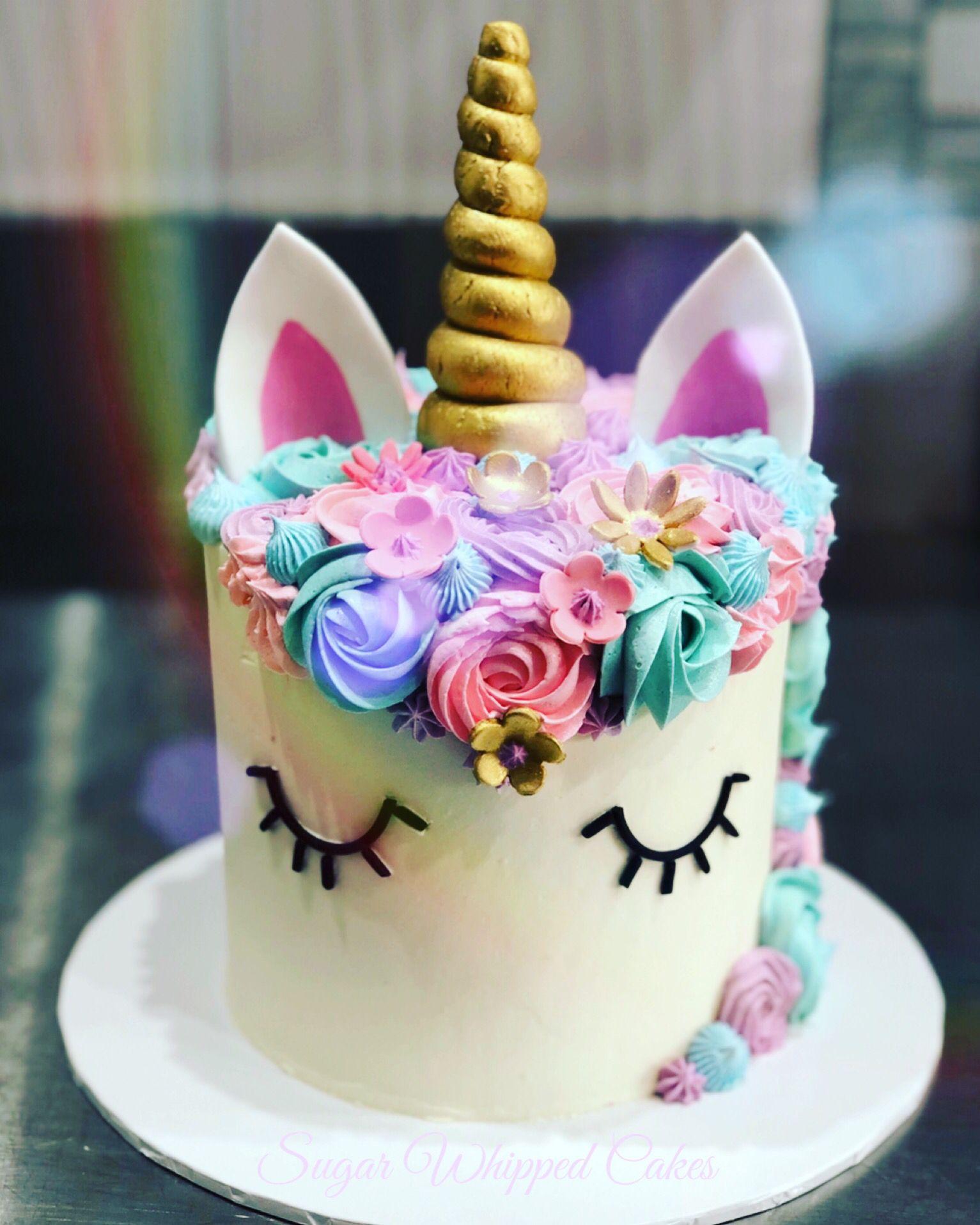 Rainbow Unicorn Cake With Flowers Unicorn Cake Rainbow Unicorn