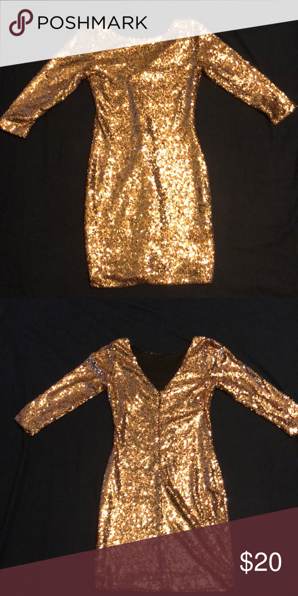 5073475fc0 Gianni Bini Gold Sequin Dress This is a great party dress that will make  you stand out from the crowd. It is a snug fit but surprisingly comfortable.