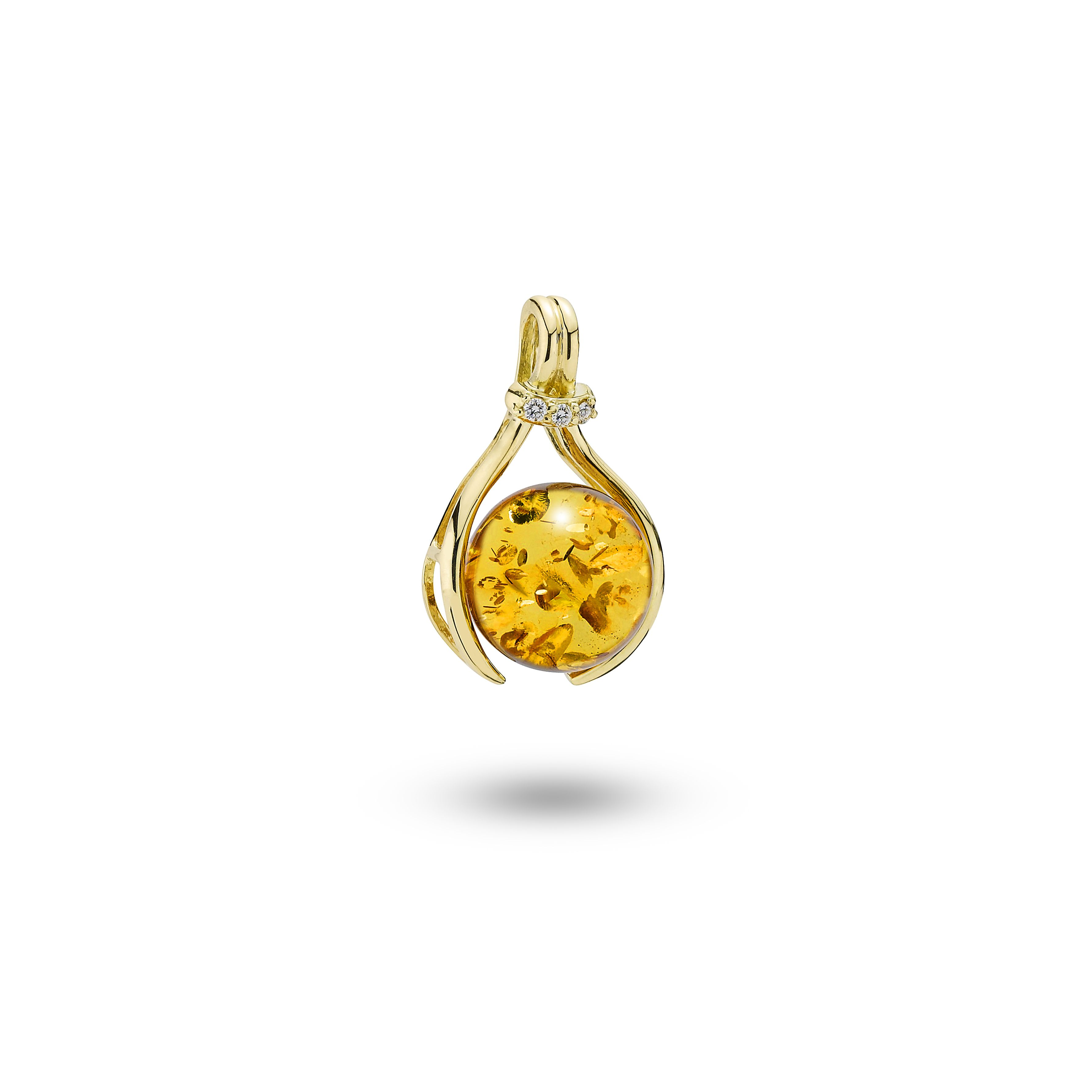 House of Amber - A unique pendant in 18 carat gold, cognac amber, and 0.05 ct diamonds. The pendant is a part of the Sparkling Star Collection.