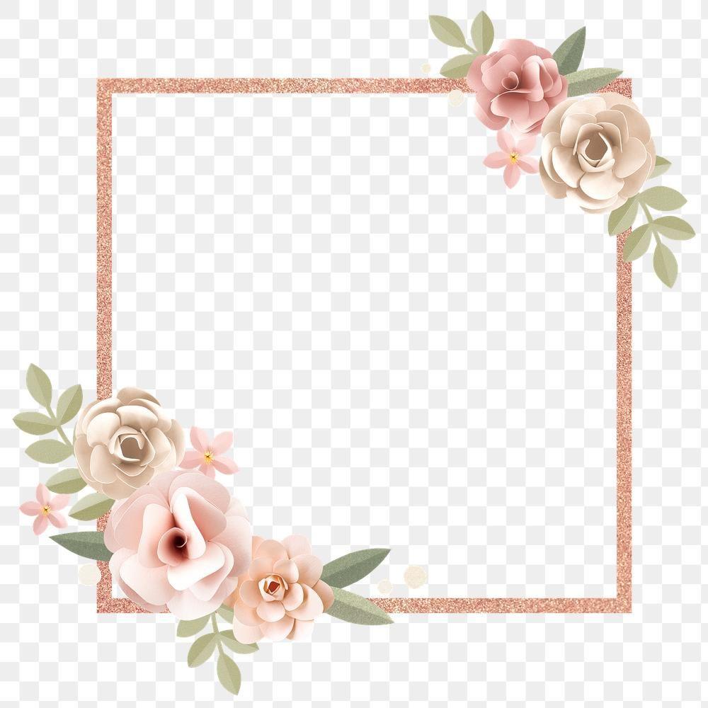 Floral Square Frame Design Element Premium Image By Rawpixel Com Minty Pink Floral Background Floral Squares Flower Frame