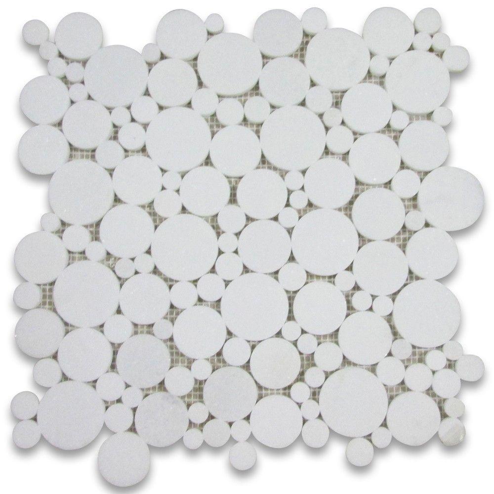 Thassos White Bubble Round Paramount Mosaic Tile Polished Mosaic