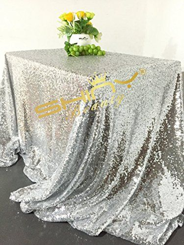 Shinybeauty Silver Sequin Tablecloth 90x132 Inch Rectangle Glitz