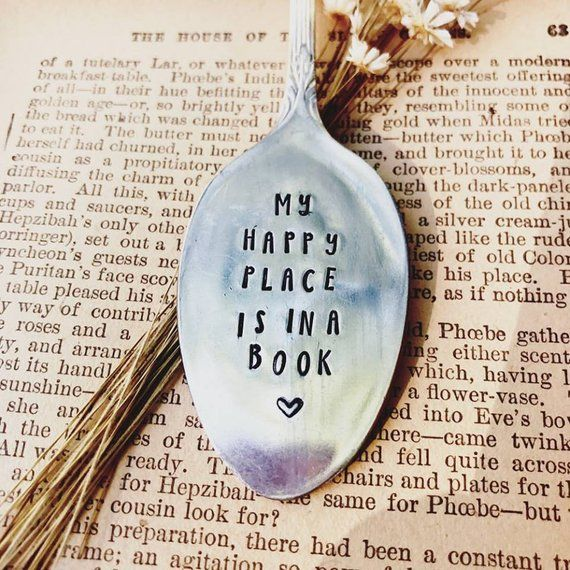 My Happy Place Is In A Book, Bookmark, Vintage Bookmark, Stamped Spoon, Book Club Gift, Stamped Book