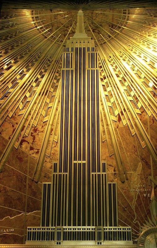 EMPIRE STATE BUILDING ART DECO GOLD Canvas Wall Art Framed Print Various sizes
