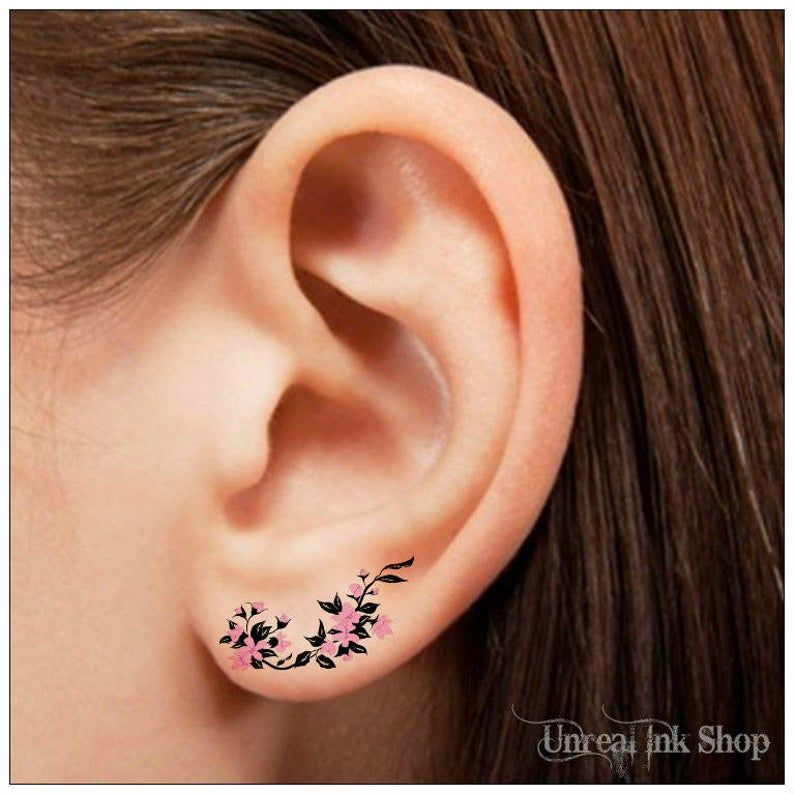 Temporary Tattoo 4 Flower Pink And Black Ear Tattoos Finger