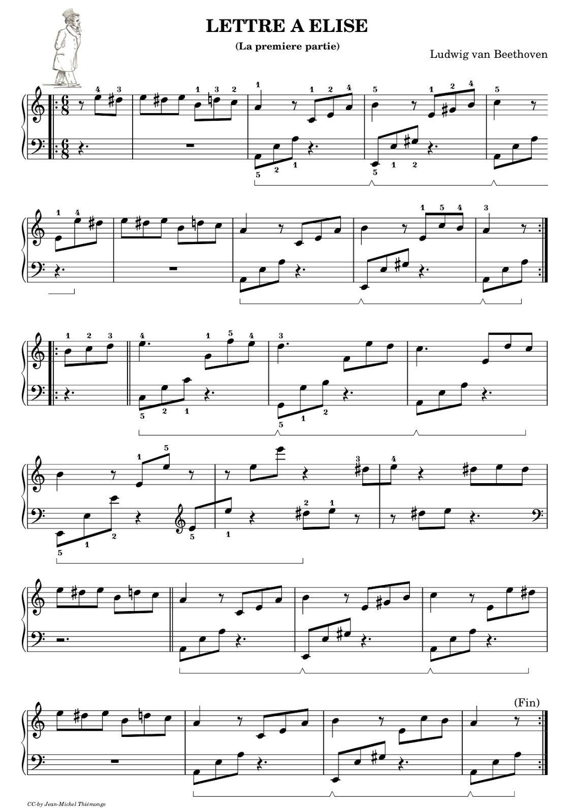 Piano Gnu Lettre A Elise Premiere Partie Chansons Piano Partitions De Piano Partition Piano Debutant