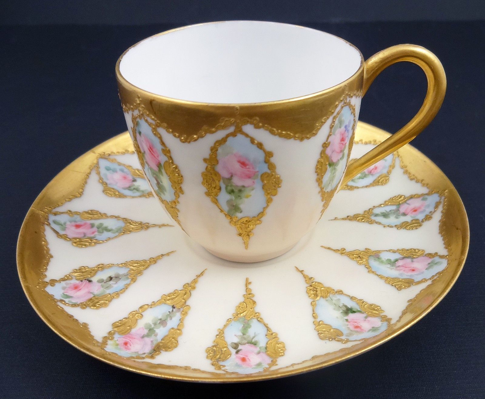 Hand Painted Limoges Demitasse Cup & Saucer.