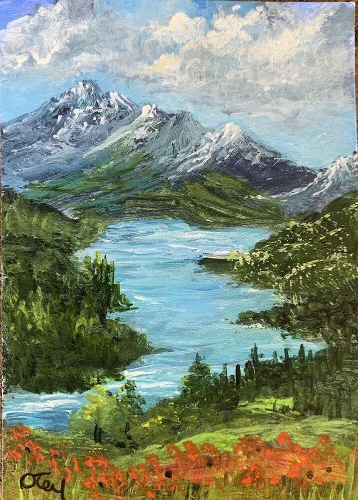 Aceo, Acryl, Original, Landschaft, Poppies By The Lake von Donna Otey