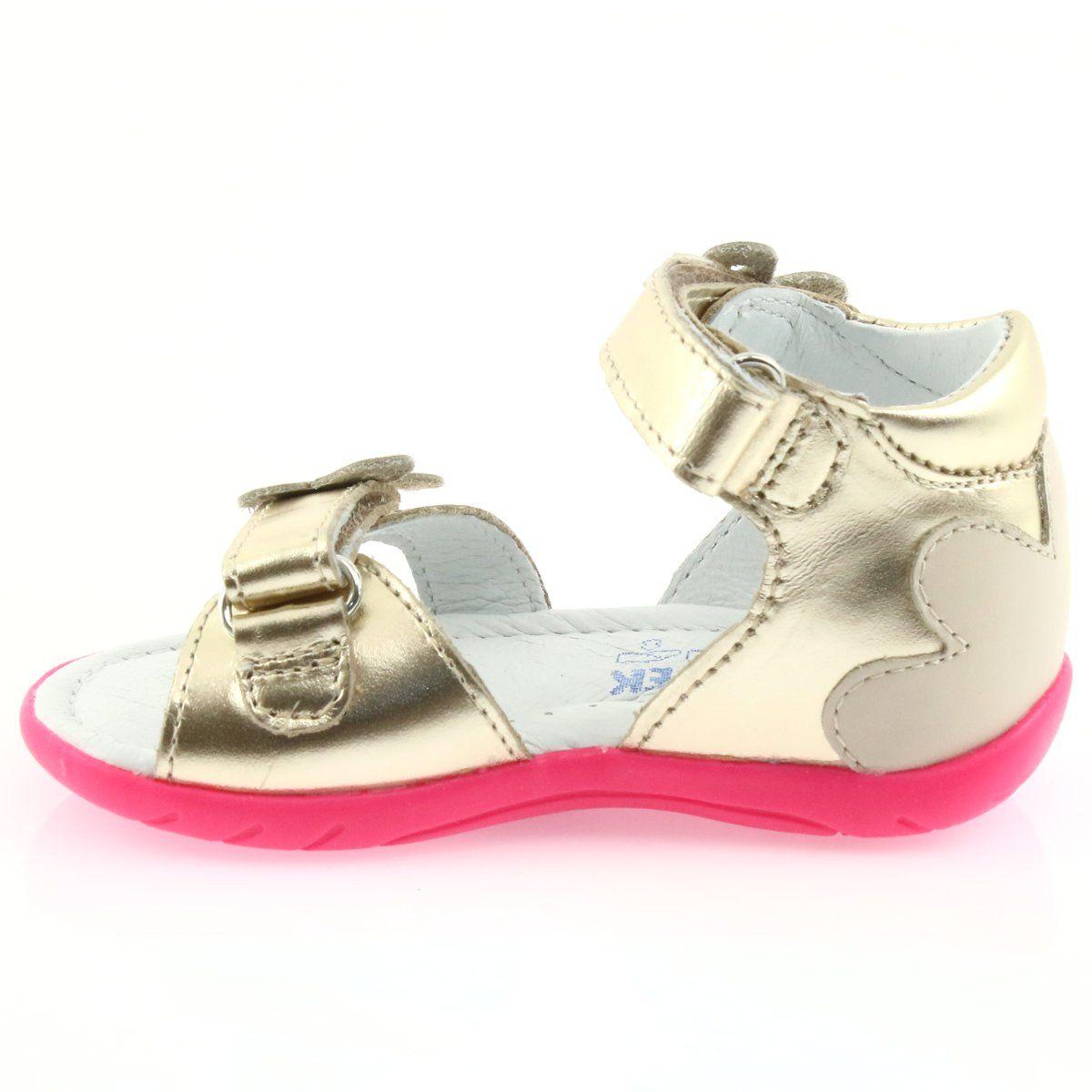 Sandalki Dziewczece Motyl Bartek 51569 Zlote Bezowy Rozowe Wielokolorowe Zloty Childrens Leather Shoes Kid Shoes Girls Sandals