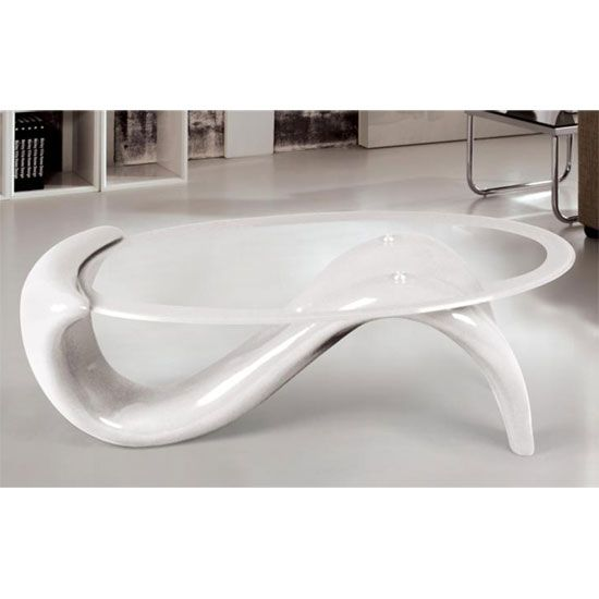 Panama Glass Top Coffee Table With White Base