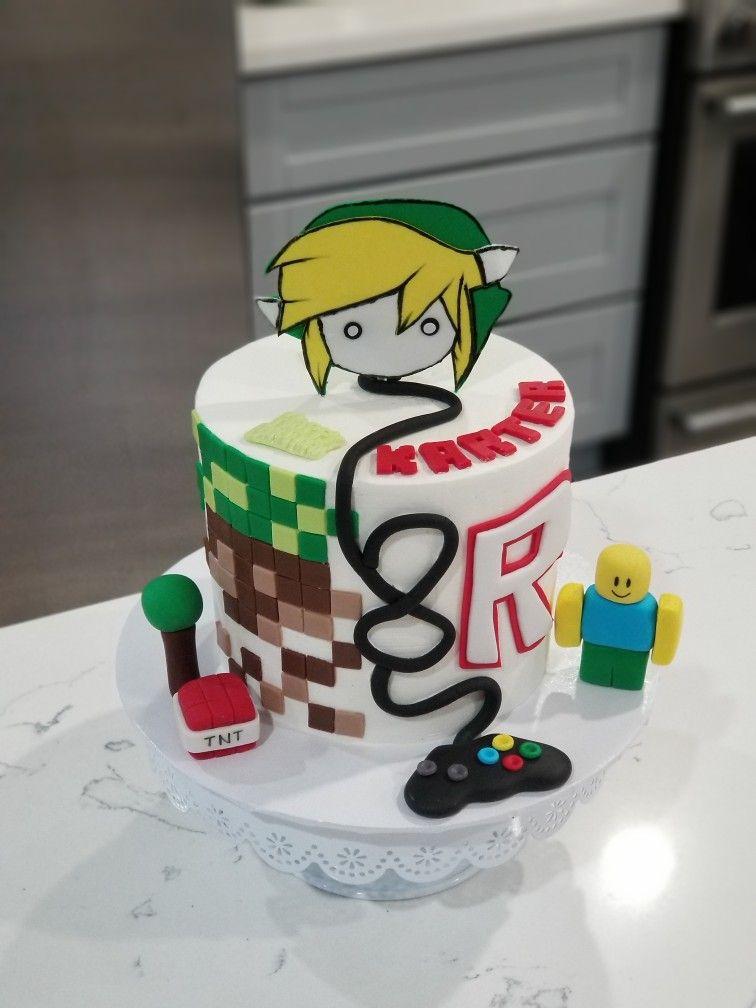 Funny Cake Videos On Roblox Roblox Minecraft And Zelda Birthday Cake Roblox Cake Minecraft Birthday Cake Video Games Birthday