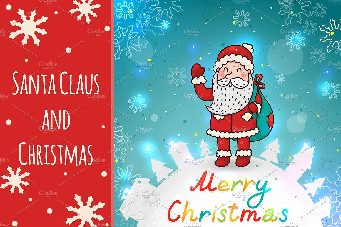Santa Claus And Christmas Christmas Lettering Santa Card Christmas Templates
