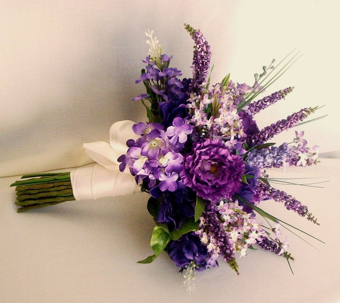 Spring wedding flowers lilacs bridal bouquet purple lavender wedding accessory silk lilac - Flowers good luck bridal bouquet ...