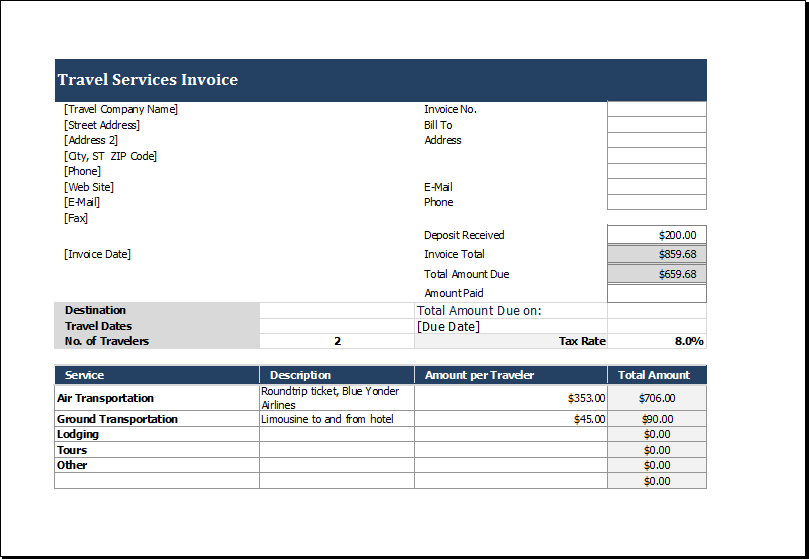 Travel Service Invoice Template For Excel Excel Templates Service Trip Invoice Template Excel Templates