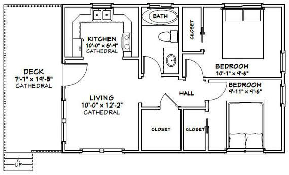 30x20 House 2 Bedroom 1 Bath 600 Sq Ft Pdf Floor Plan Instant Download Model 2 In 2020 Tiny House Floor Plans House Floor Plans Floor Plans
