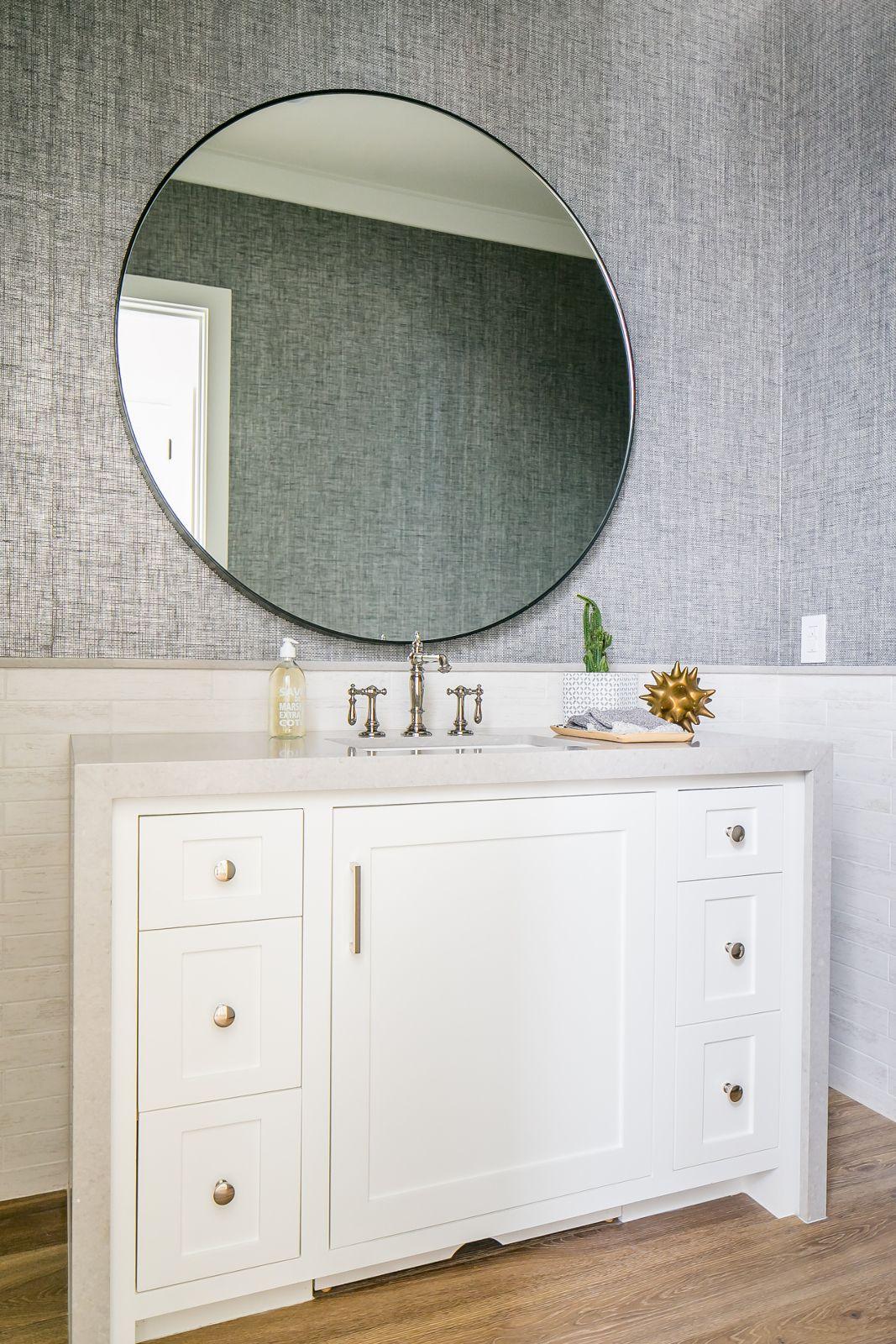 Cardiff image 11  Wallpaper accent wall bathroom, Bathroom