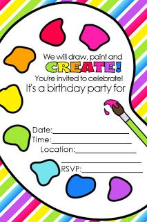 FREE Artist Party Printables Free Printable Invitations Art