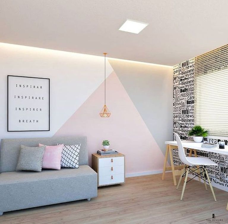 60 Best Geometric Wall Art Paint Design Ideas 1 33decor Bedroom Wall Paint Girl Room Bedroom Wall