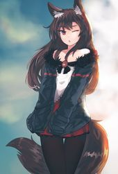 Photo of long hair, Red eyes, Brunette, Anime, Anime girls, Imaizumi Kagerou, Tail, Anima…