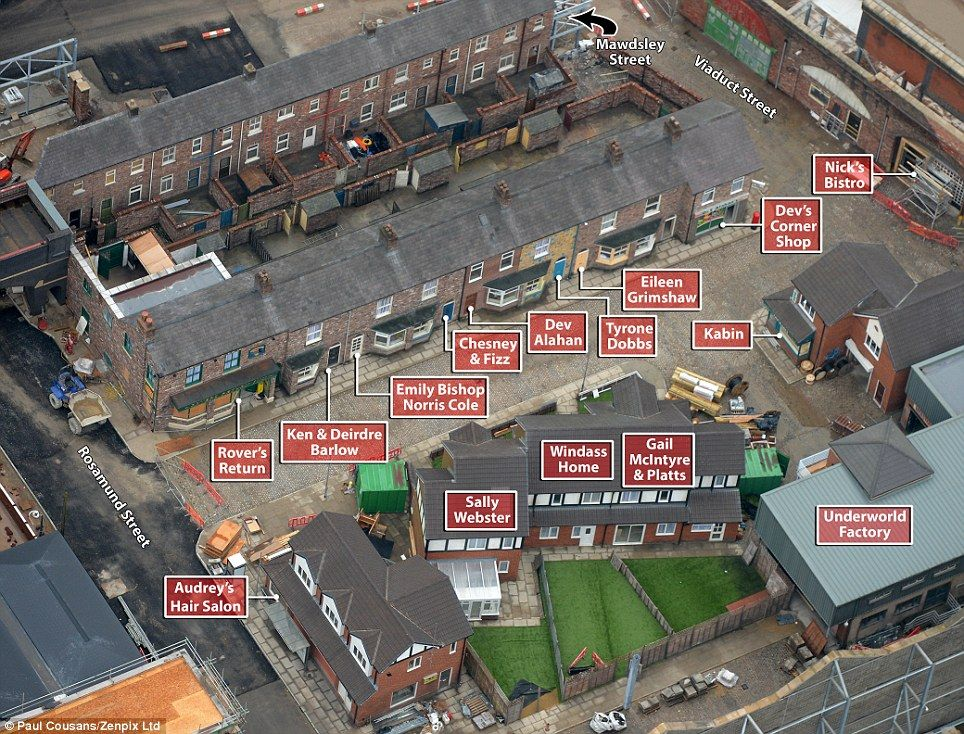 Nearly complete: The new Coronation Street set looks ready to go as builders put finishing touches on the Salford location