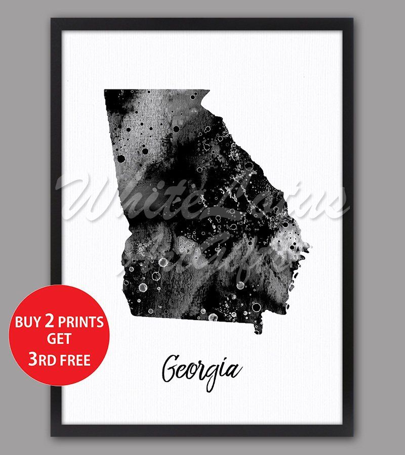 Georgia Map Print Black White Art Watercolor USA Map Poster With ...