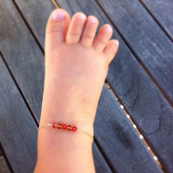 Baby Bracelet Crystal And Gold Anklet Jewelry Boy Shower Gift Infant Ankle On Etsy 26 99